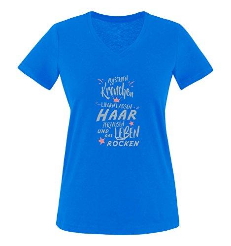 Comedy Shirts - Aufstehen Krönchen liegen lassen Haar zerzausen und das Leben rocken. - Damen V-Neck T-Shirt - Royalblau / Eisblau-Rosa Gr. M (Rosa Haar-womens T-shirt)