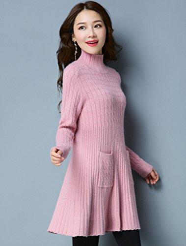 MatchLife Femme Mini Robe Tricotée Pull Col Haut Montant Ourlet Evasé Rose