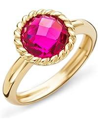 Miore Damen-Ring 9 Karat ( 375 ) Gelbgold Granat Stein 2.9 ct. Quarz rot Rundschliff - MNA9025R