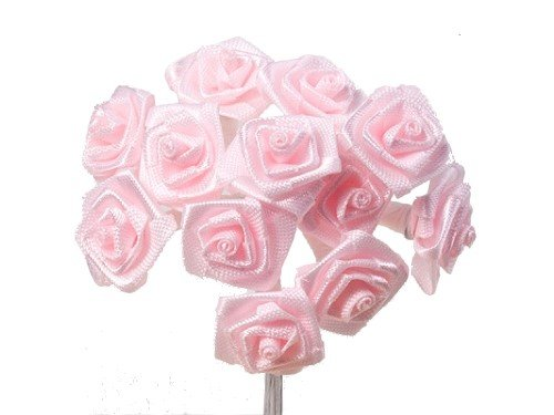 144-x-little-dior-roses-pink-15-cm-12-x-12-craft-item-satin-rose-decoration