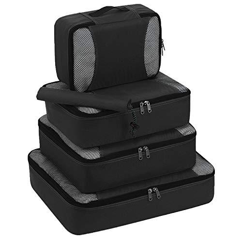 Vinyl Schuh Organizer (cool show Hängende Reisetasche mit Reißverschluss und Würfeln, tragbar, Nylon Kleidung Schuhe Gepäck Organizer Set, Vliesstoff, Schwarz, 5 Stück)