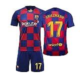 LLMM Jersey Soccer Maillot Barcelona Maillot Griezmann 17# Jersey Adulte Enfants Costume À Manches Courtes + Shorts Football Uniforme,22~(Child~30~35kg/130~140cm)