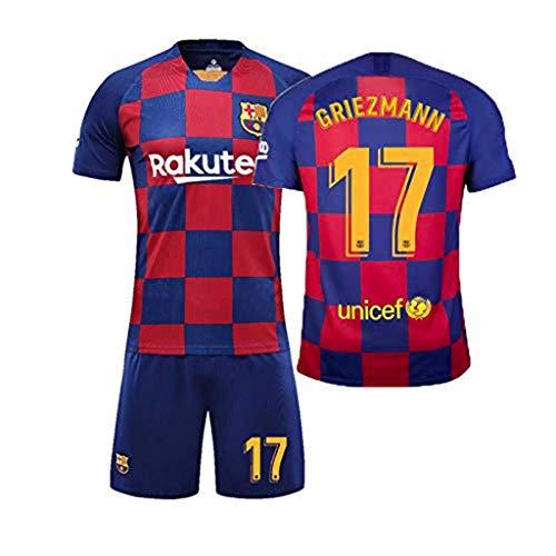 LLMM Jersey Soccer Jersey Barcelona Jersey 3/5/7/8/9/10/11/17/22/23# Jersey Erwachsene Kinder Anzug Kurzarm + Shorts Fußball Uniform,17~Griezmann,Adult~S