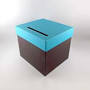 Urne Carrée Bicolore Chocolat/ Turquoise