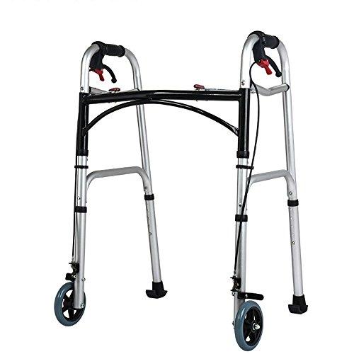 XIHAA Ältere Menschen Walker Höhenverstellbar Klapp Aluminiumlegierung mit Bremsscheibe Behinderte Person Walking Rehabilitation Ausrüstung Bad Bad Stuhl (Zweirad) (Drive Medical-rollator 4-rad)