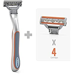 The Omega 3 Blade Men's Razor by WayToShave(Pack of FREE Razor Handle + 4 Cartridges)