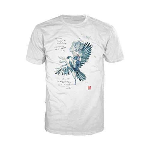 Beatles David Mack Blackbird Official Men's T-Shirt (White) (Large) -