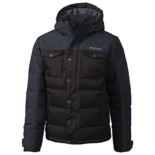 Cargo Fleece Parka (Marmot Herren 73870 Leichte Daunenjacke, 700 Fill-power, Warme Outdoorjacke, Wasserabweisend, Winddicht, Black, XL)