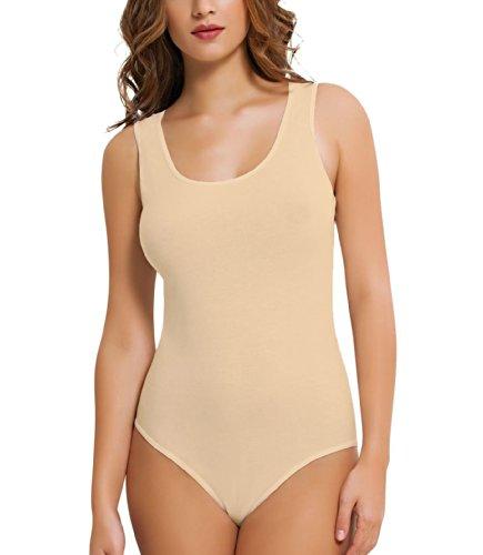 NBB Damenbody Business Unterhemd Träger Body Damen Unterwäsche Bodysuit Beige