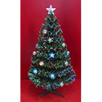 Inside Out Toys Indoor LED Multicolour Fibre Optic Xmas/Christmas Tree with stand Green or White various Sizes (Green With Decorations, 3
