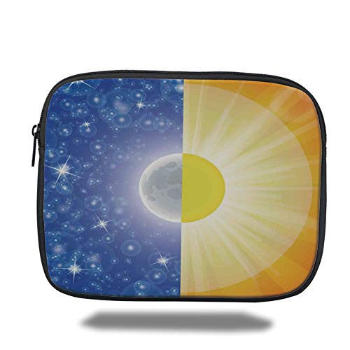 Laptop Sleeve Case,Apartment Decor,Split Design with Stars in The Sky and Sun Beams Light Solar Balance Image,Blue Yellow,Tablet Bag for Ipad air 2/3/4/mini 9.7 inch -