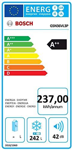 Bosch GSN36VL3P Serie 4 Freistehender Gefrierschrank / A++ / 186 cm / 237 kWh/Jahr / Edelstahl mit Antifingerprint / 242 l / NoFrost