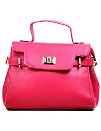 Hopping Street Stylish Elegance Fashion Red Color Faux Leather Handbag for Women