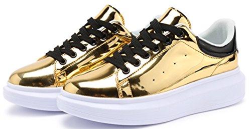 DADAWE Femmes Chaussures de ville à lacets les loisirs Or