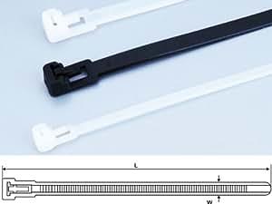 100 x Kabelbinder wiederlösbar Industriequalität natur/schwarz 7,5x300 weiß/natur