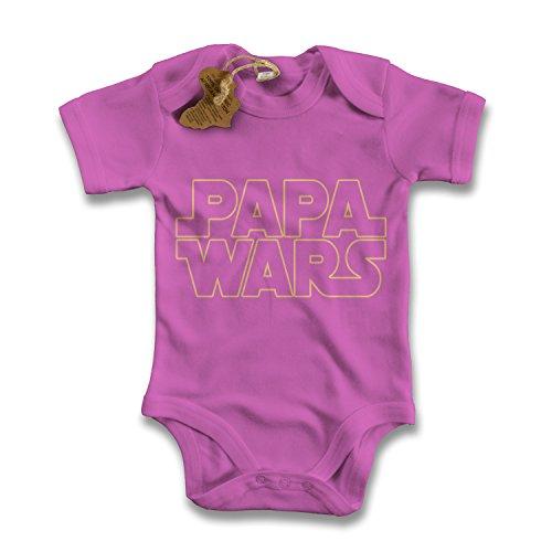 net-shirts Organic Baby Body mit PAPA WARS Aufdruck STAR Spruch lustig Strampler Babybekleidung aus Bio-Baumwolle mit Zertifikat, Größe 0-3 Monate, pink