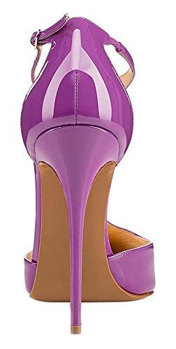 uBeauty High Heels Damenschuhe Lackleder T-Spangen Übergröße Pumps für Hochzeit Party Lila
