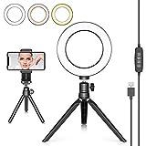 Neewer Anillo de Luz LED 16cm con Trípode para Youtube Video Transmisión en Vivo Maquillaje Selfie Mini Cámara LED Escritorio con Luz LED y Soporte Teléfono Movil 3 Modos Luz