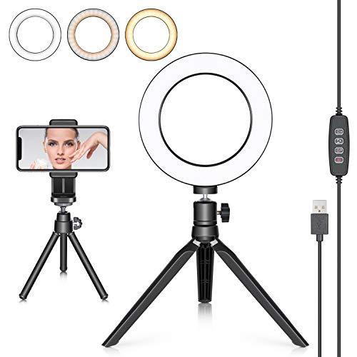 Neewer LED Ringlicht 6 Zoll mit Stativ für YouTube Video Live Streaming Make-Up Tisch Mini USB Kamera LED-Licht mit Handyhalter 3 Lichtmodi...