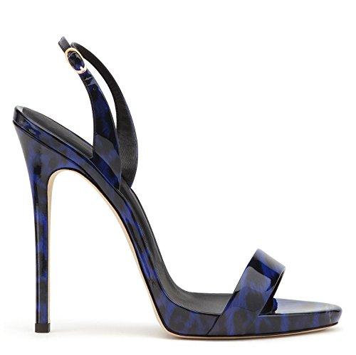 uBeauty - Sandali con tacco alto - Sandali sexy - Sandali della cintura della caviglia leopardo-blue