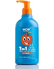 WOW Kids Tip to Toe Wash - Shampoo - Conditioner - Body Wash - No Sulphates & Parabens - Peach, 300 ml