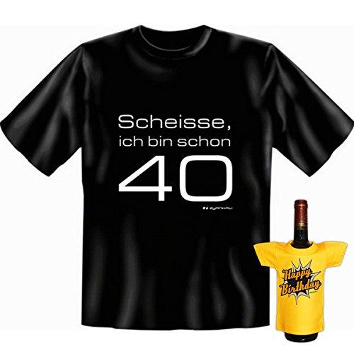 Geburtstags Set T-Shirt + Mini für die Flasche <->          40 Jahre          <->           Schwarz, ein kleines lustiges Geschenk Goodman Design® Schwarz