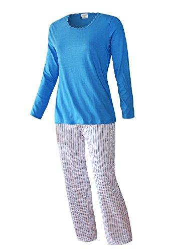 Damen Schlafanzug lang Pyjama Langarm Langer Damen Nachtanzug Hausanzug Damenschlafanzug weich und warm aus 100% Baumwolle (L/44-46, Adaja Blau)
