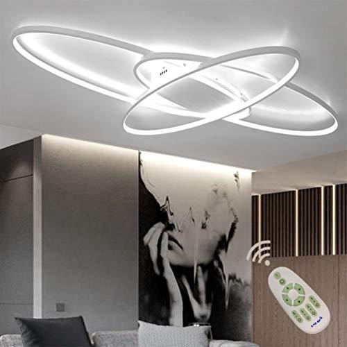 LED Modern Deckenlampe Wohnzimmerlampe Dimmbar mit Fernbedienung, Oval Design 3-ring Deckenleuchte Metal Acryl Kronleuchter für Schlafzimmer Esszimmer Bad Küche Decken Lampen L95*W65*H9cm (Weiß)