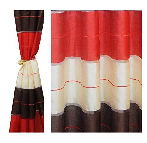 Tenda a occhiello semitrasparente sciarpa a occhiello sciarpa sciarpa decorativa per finestra tenda decorativi a colori strisce balcone di 2 tende con occhielli 145x245 cm agv v20