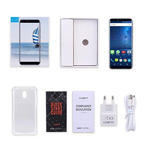 Cubot X18Smartphone 4G Unlocked Mobile Phone (Screen:5.7inches; HD; aspect ratio 18:9;3GB + 32GB; Android 7.0; 13 and 16 MP cameras;dual SIM; ultra-slim; digital fingerprint; WiFi)