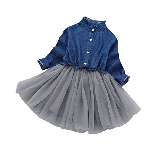 Wongfon Mädchen Denim Kleid Baby Kinder Langarm knielangen Kleider Denim Patchwork Gaze Tutu Rock für 1-7 Jahre Kinder