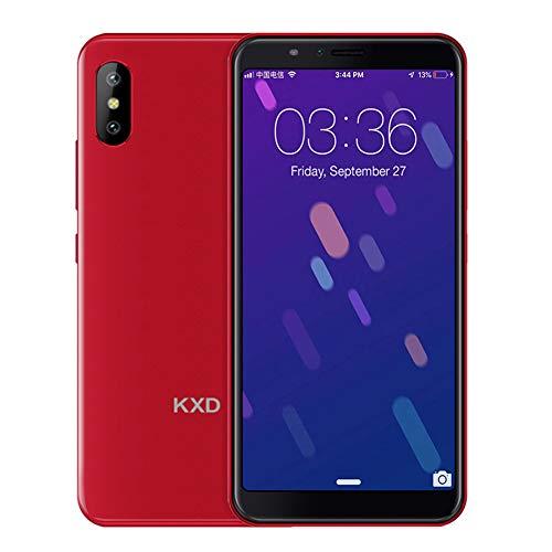 KXD 6A Smartphone ohne Vertrag Günstig Android, Handy 5.5 Zoll(18:9) 1GB Ram+8GB interner Speicher 2500mAh Akku 5MP Dual Kamera, 64GB interner Speicher Dual SIM Face-Unlock (Rot)
