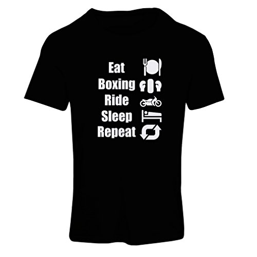 Frauen T-Shirt Eat Sleep Boxing Repeat - para combatientes y jinetes (Medium Schwarz - Halloween-meme Australien