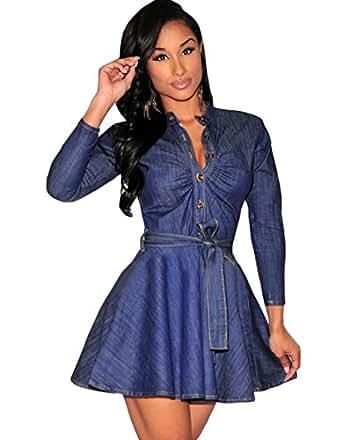 Zeagoo Damen Jeans Kleider damen knielang Kleider elegant ...
