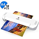 A4 Laminator, ABOX 2019 Upgrade Thermal Laminator Machines for Home Office School Lamination with 12 Laminating Pouches & Jam Release Function, White