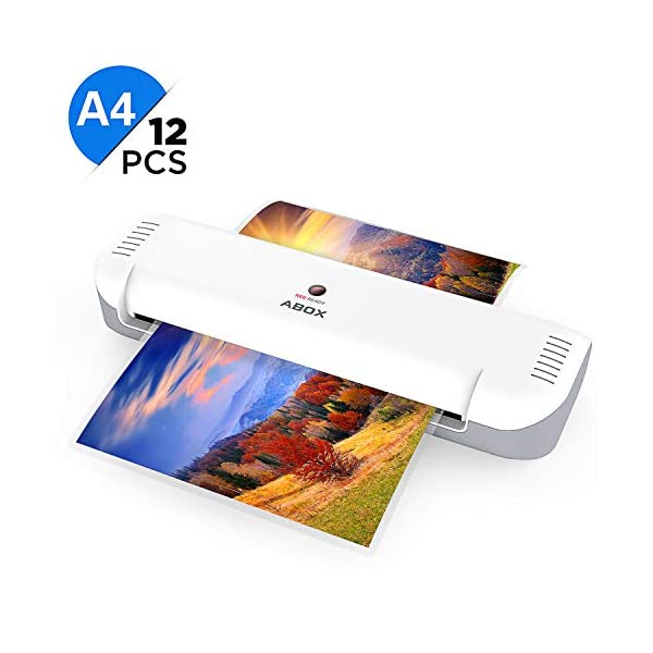 A4 Laminator, ABOX 2019 Upgrade Thermal Laminator Machines for Home Office School Lamination with 12 Laminating Pouches, Jam Release Function, OL141, White 41NK xMmm3L