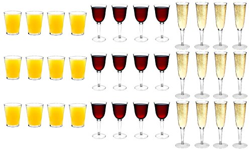 (Rink Drink Plastic Outdoor Water Tumblers / Hiballs, Wine Glasses, Champagne Flutes - Set Of 36)