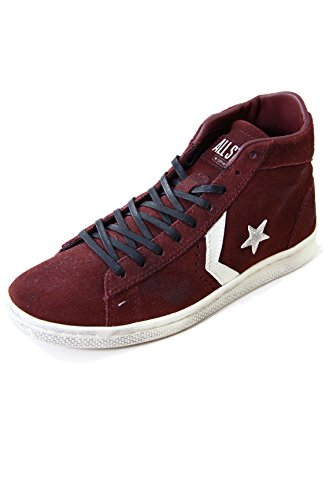 Converse Pro Leather Mid Suede Sneakers Maroon Distressed 1C465 Bordeaux