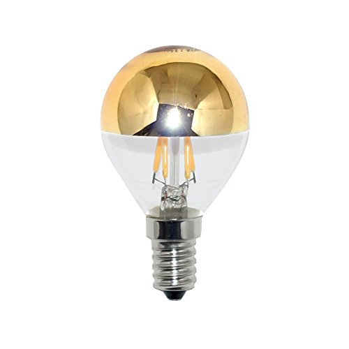 LED Filament Tropfen Glühbirne 4W = 40W E14 Kopfspiegel gold warmweiß 2700K KVG