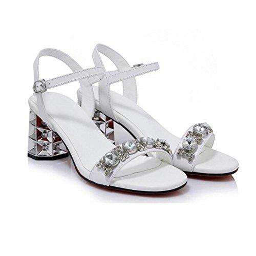 W&LMMrs. vera pelle sandali Strass Fibbia sandali Ruvido con Tacchi alti White
