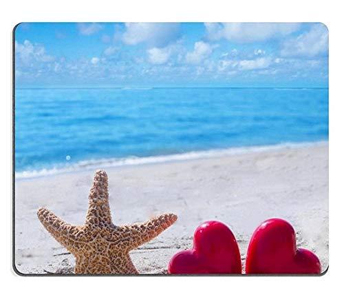 Mauspads Starfish mit Zwei Herzen auf dem sandigen Strand durch die Ozean-Matte Kundengebundene Tischplattenlaptop-Spiel-Mausunterlage -