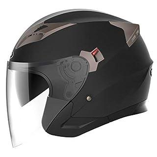 Jethelme Rollerhelm Sturzhelm Chopper Helm - YEMA YM-627 Motorradhelm ECE mit Doppelvisier Sonnenblende für Damen Herren Erwachsene-Schwarz Matt-XL