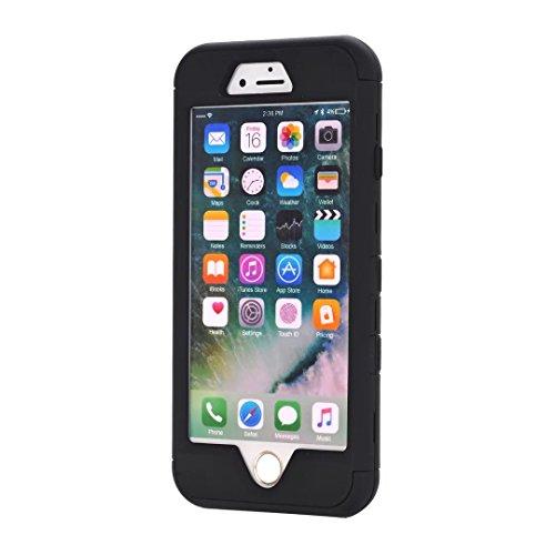 """iPhone 7 Hülle,Lantier Eleganter Luxus verzierte Bling Strass Design 3 Stück Art Dual Layer Hybrid Stoß harten Autoschutzhülle für iPhone 7 4.7"""" 2016 Schwarz+Pink Cute Rhinestone Black"""