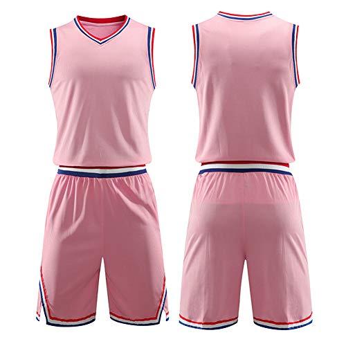 LZNK Basketball Shirts Personality DIY Bequeme und erfrischende Herren-Basketballtrikots-Light pink-XXL -