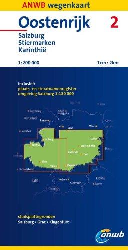 Oostenrijk: Salzburg, Stiermarken, Karinthië schaal 1:200:000 2 (ANWB wegenkaart (2))
