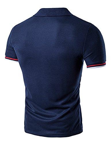 YCHENG Herren Basic Kurzarm Poloshirt Polos T-Shirt Einfarbig M-XXL Blau 2