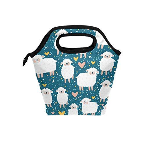 Lunchtasche Baby Sheep White Heart Stars Navy Insulated Lunchbox Thermal Portable Handtasche Food Container Cooler Wiederverwendbar Outdoor Travel Work School Lunch Tote - White Heart Handtasche