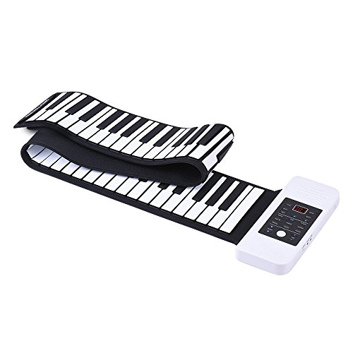 Preisvergleich Produktbild Ammoon Silikon Notebook 88Tasten Roll Up E-Hand Piano Tastatur USB Built-in Li-Ion und Lautsprecher mit einem Pedal