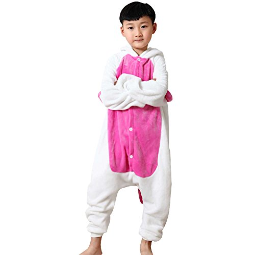 LSERVER-Jumpsuit Fasching Halloween Kostüm Sleepsuit Cosplay Fleece-Overall Pyjama Schlafanzug Unisex Rosa Einhorn