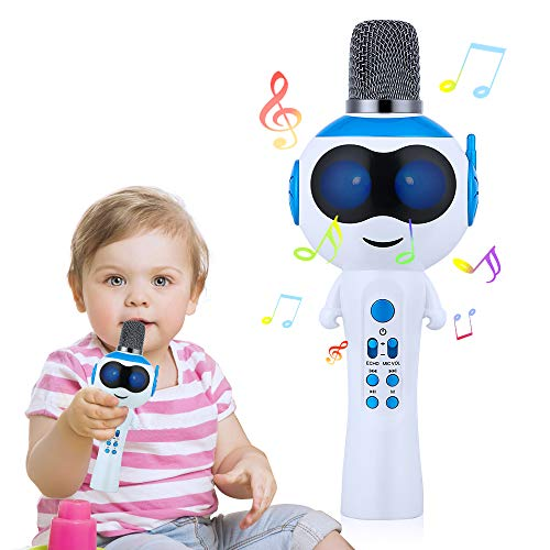 Mbuynow Karaoke Mikrofon für Kinder Bluetooth 5.0 Singing Machine für Jungen und Mädchen Handheld Kabelloser Mikrofon als Geburtstag Geschenk - blau
